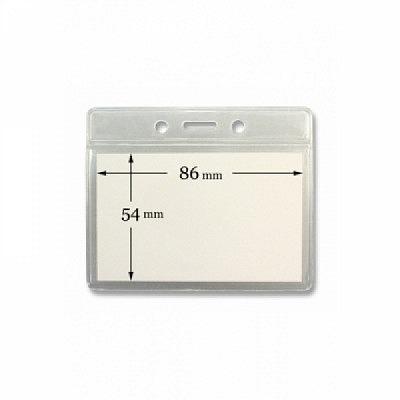 10 Stk. Badgehalter transparent (waagrecht) aus Weichplastik.