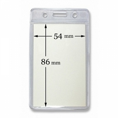 10 Stk. Badgehalter transparent (senkrecht) aus Weichplastik.