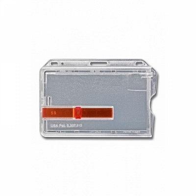 10 Stk. Badgehalter transparent (waagrecht) aus Hartplastik, mit rotem Schieber.