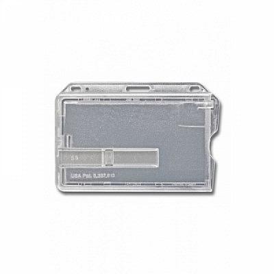 10 Stk. Badgehalter transparent (waagrecht) aus Hartplastik, mit transparentem Schieber.