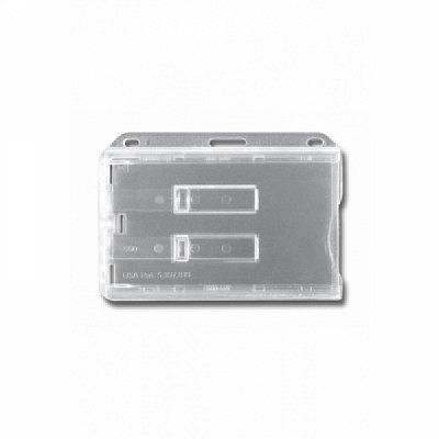 10 Stk. Badgehalter transparent (waagrecht) Doppelbox, aus Hartplastik, mit 2 transparenten Schieber.