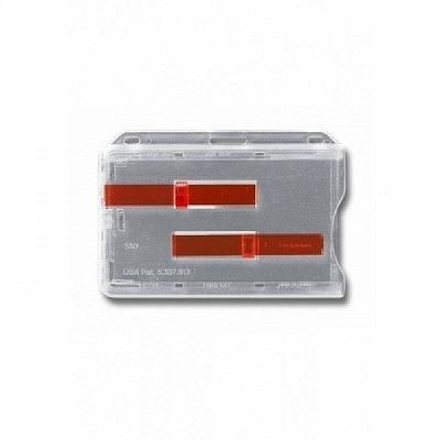 10 Stk. Badgehalter transparent (waagrecht) Doppelbox, aus Hartplastik, mit 2 roten Schieber.