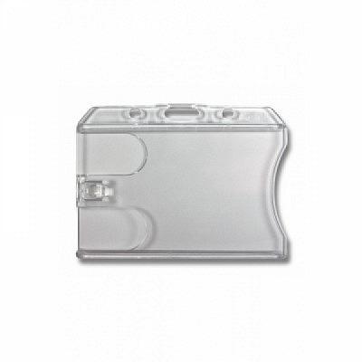10 Stk. Badgehalter transparent (waagrecht) Doppelbox, aus Hartplastik.
