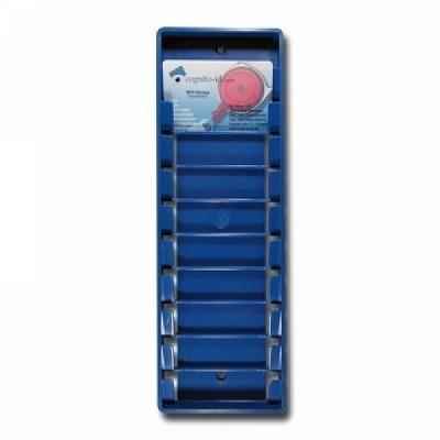 Badgehalter 10-fach, blau aus Kunststoff.