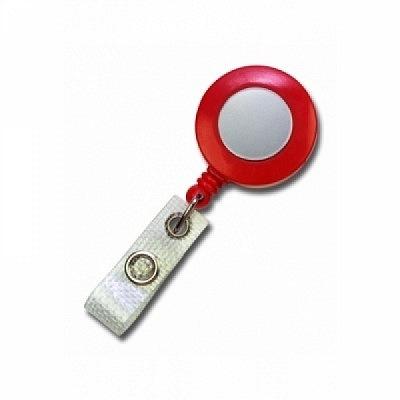10 Stk. Mini JoJo Gurtclip (rot) aus Kunststoff, mit Gewebelasche.