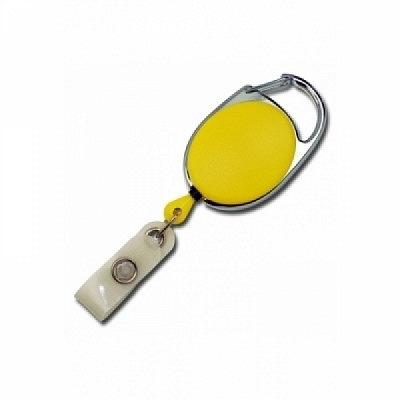 10 Stk. Yo-Yo (gelb) aus Kunststoff, mit Gewebelasche und Befestigungsbügel.