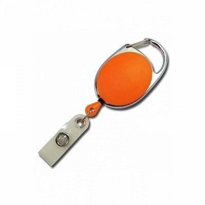 10 Stk. Yo-Yo (orange) aus Kunststoff, mit Gewebelasche und Befestigungsbügel.